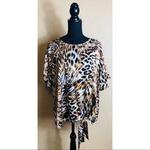 Worthington soft round neck leopard print top